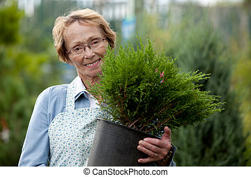 Senior Woman Employee with Shrub