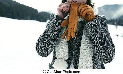 Senior woman enjoying herself on a winter day. - Senior...