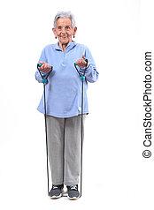 senior woman exercising on white background