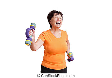 Senior woman exercising - on white