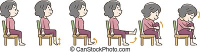 Senior woman exercising with a chair