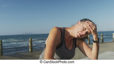 Senior woman exhausted after running - Senior Caucasian ...
