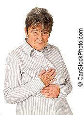 Senior woman feeling unwell - Senior woman with pain -...