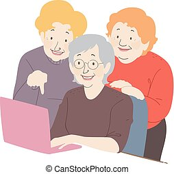 Senior Woman Friends Laptop Illustration