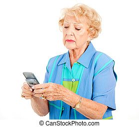 Senior Woman Frustrated by Texting