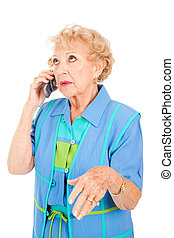 Senior Woman Gossips on Cellphone