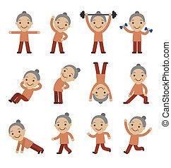 senior woman, gyakorlás, health alkalmasság