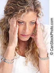 Stress. - Senior woman having a head ache. Stress.
