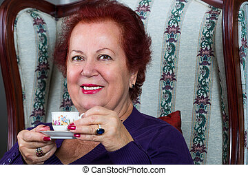 Senior Woman Having Strong Turkish Coffee