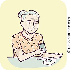 Illustration of a Senior Woman Using an Electronic High Blood Pressure Monitor