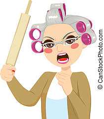 Senior Woman Holding Roll Pin - Senior woman angry holding ...