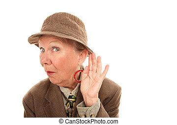 Senior woman in drag listening - Senior woman in drag...