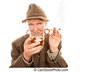 Senior woman in drag with cigarette and alcohol
