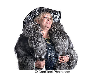 Senior woman in fur