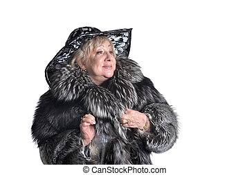 Senior woman in fur
