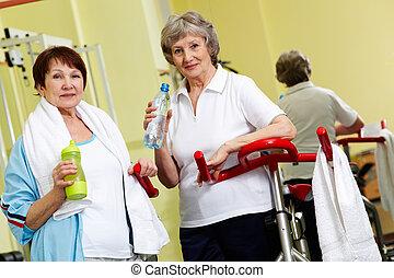 Senior woman in gym