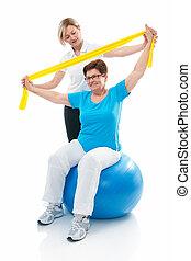 senior woman, in, gymnastiksal