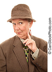 Senior woman in male clothing