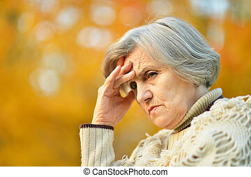 Senior woman in park