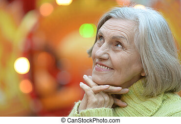 Senior woman in park