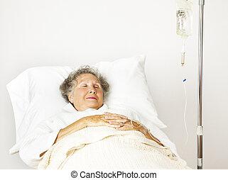 senior woman, in, sjukhus