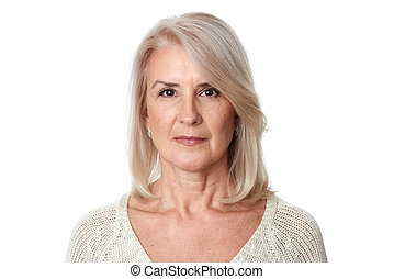 Senior woman isolated on a white background