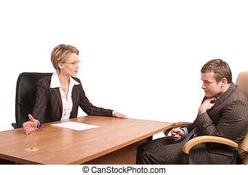reprimand - Senior woman junior man business talk -...