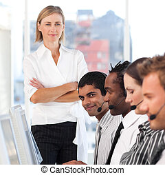 woman leading a business team