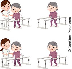 Senior woman learning to walk in physiotheraphy - Vector...
