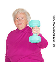 Senior woman lifting weights - Cheerful senior woman lifting...