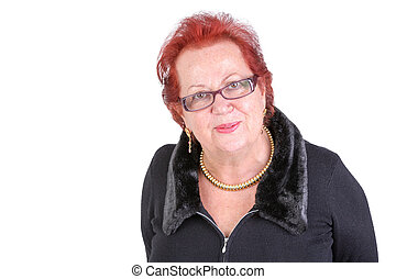 Senior Woman Looking at You Understanding and Welcoming -...