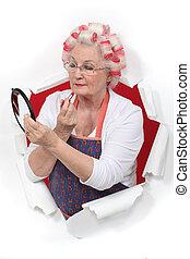 senior woman, making-up