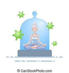 Senior woman meditating under the glass dome with viruses flying around. Coronavirus prevention, stay indoors, world quarantine concept. Vector illustration, isolated.