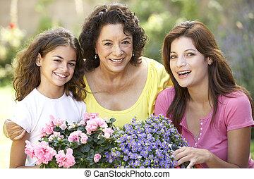 senior woman, noha, felnőtt, lány, és, lányunoka, kertészkedés, együtt