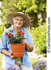 senior woman, noha, menstruáció, alatt, kert