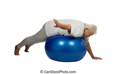 Senior woman on a fitball