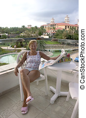 Senior woman on hotel terrace