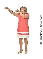 Senior woman on white background