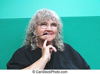Senior woman operator