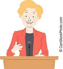 Senior Woman Podium Speech Illustration