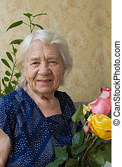 Senior woman portrait of a 89 year old lady
