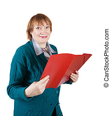 senior woman reading documents