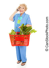 Senior Woman Shops with Cellphone