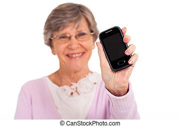 senior woman showing message
