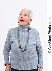 senior woman singing on a white background