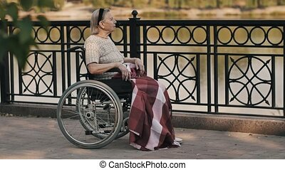 Senior woman sit on wheelchair on nature