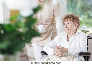Senior woman sits on wheelhair