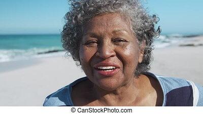 Senior woman smiling looking at the camera