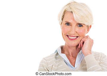 senior woman, stående