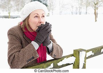 Senior Woman Standing Outside In Snowy Landscape Warming Hands